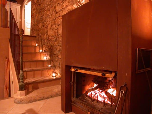 la cheminée en hiver