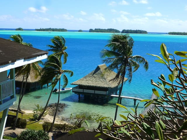 "Bungalow N3 is situated overwater, with cool breezes, island views & swaying coconut trees...   Sur le lagon , face aux  cocotiers des ""Motus"""