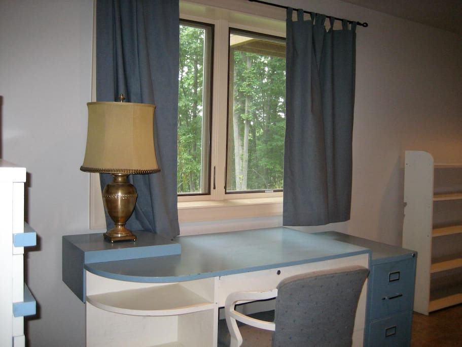 As you enter, dresser on left and desk with a view of the woods!