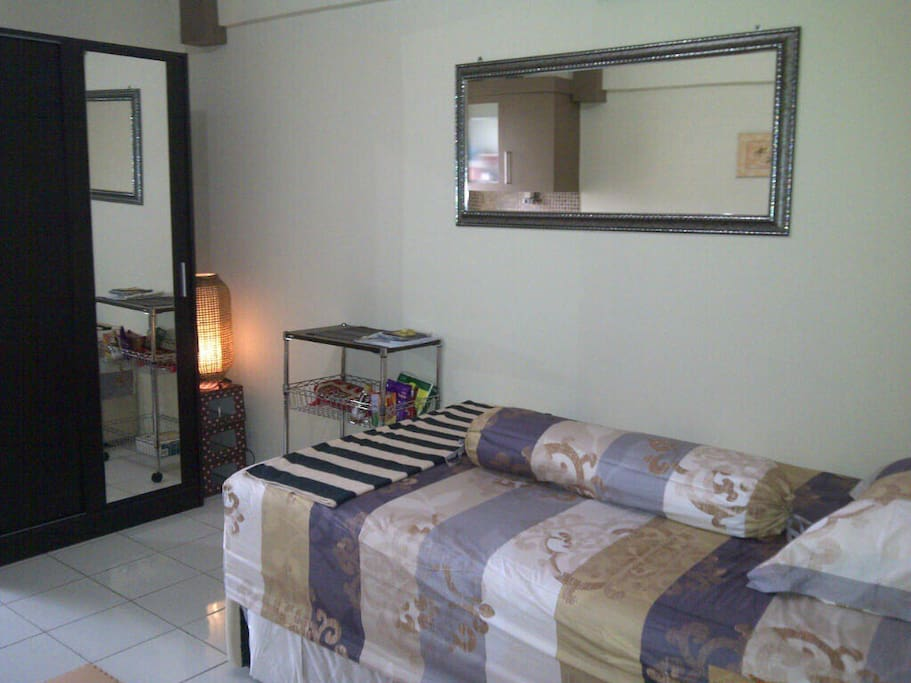 Bed for 2 persons (sliding bed below), furniture