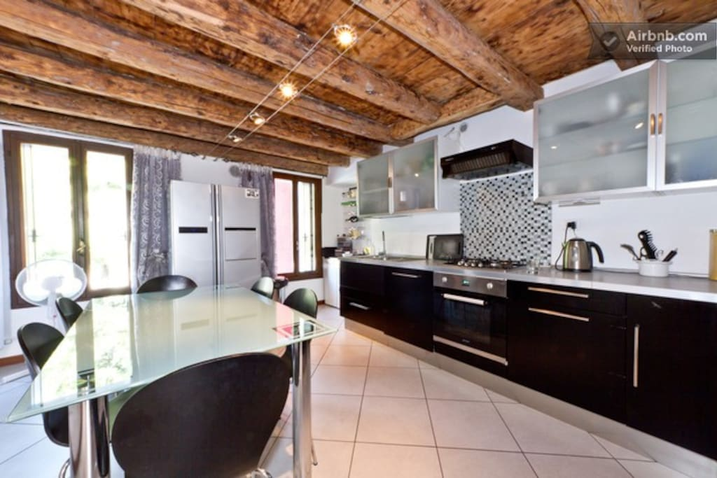 Modern kitchen and breakfast room with views of Mt Grappa and the River Brenta