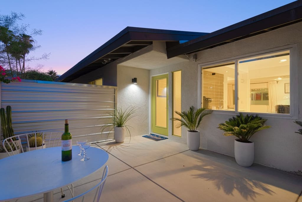Front entry at night - completely private from outside