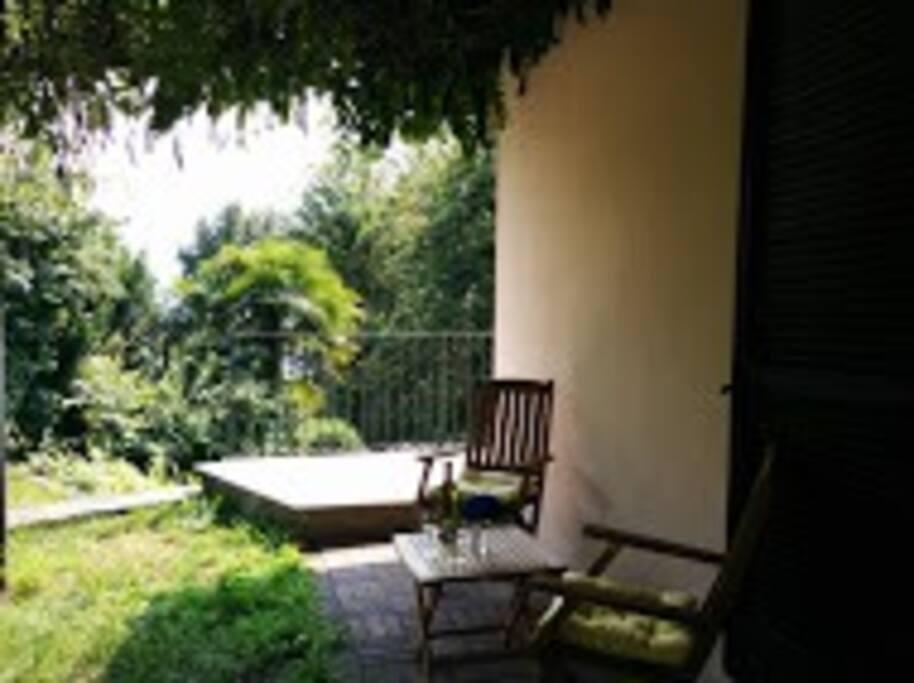 Pergola under the wisteria