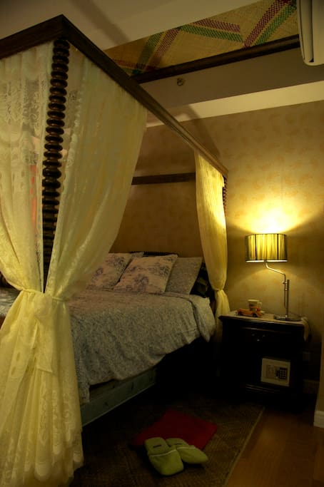 The bedroom that gives a glimpse of the colonial Filipino way of living during the Spanish times, but with modern amenities