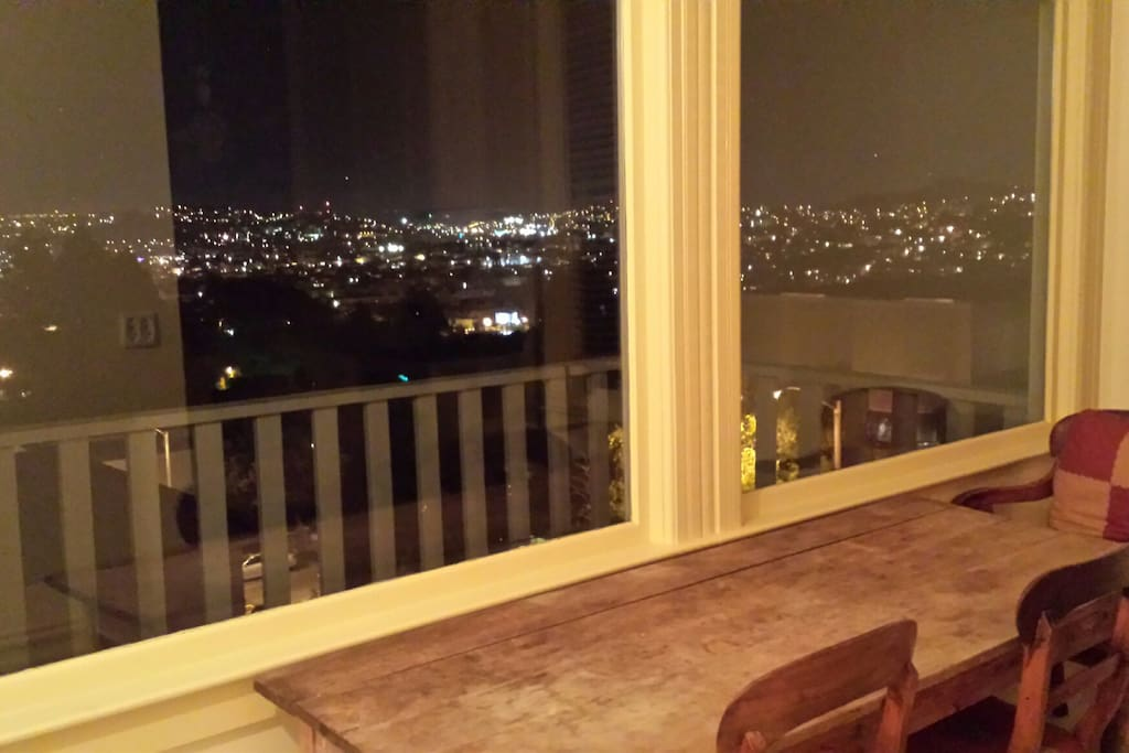 View from kitchen to the bay at night