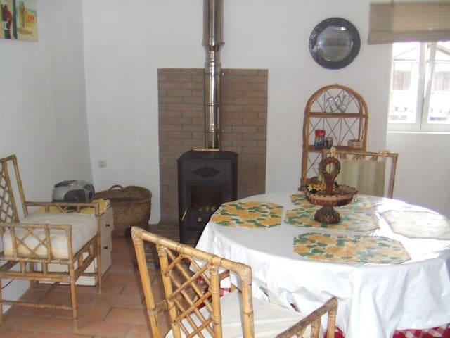 vista de cocina-comedor con chimenea de leña