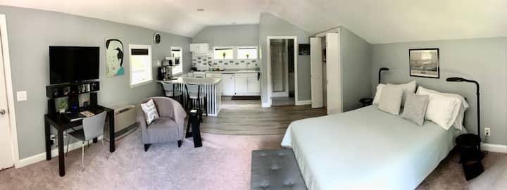 Private, quiet contemporary studio apartment.