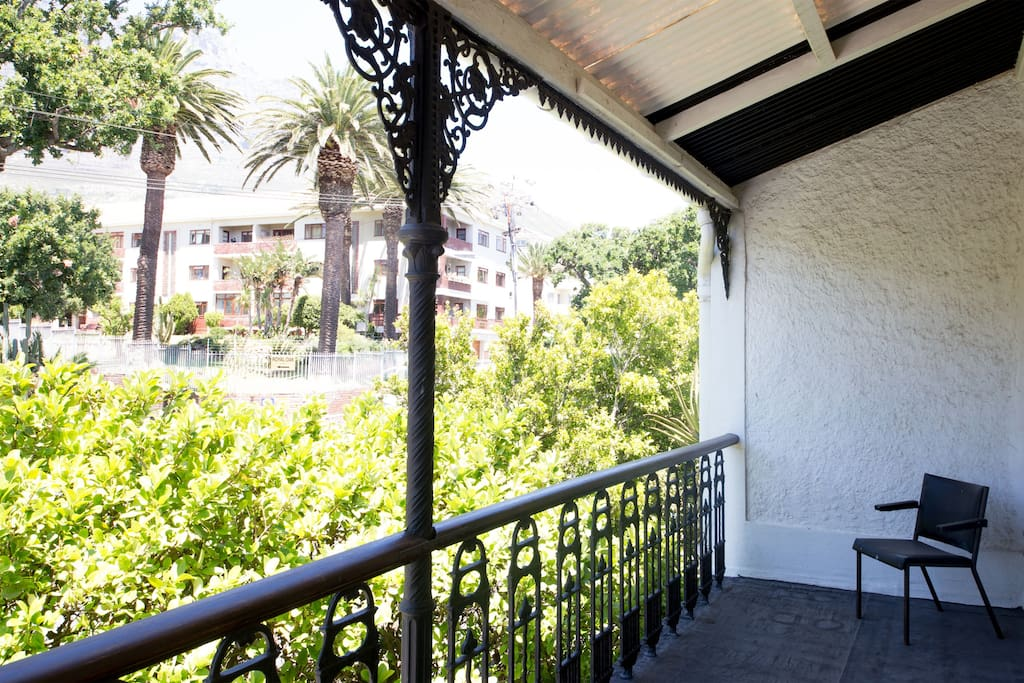Balcony leading off main bedroom with view towards Table Mountain and Devils Peak
