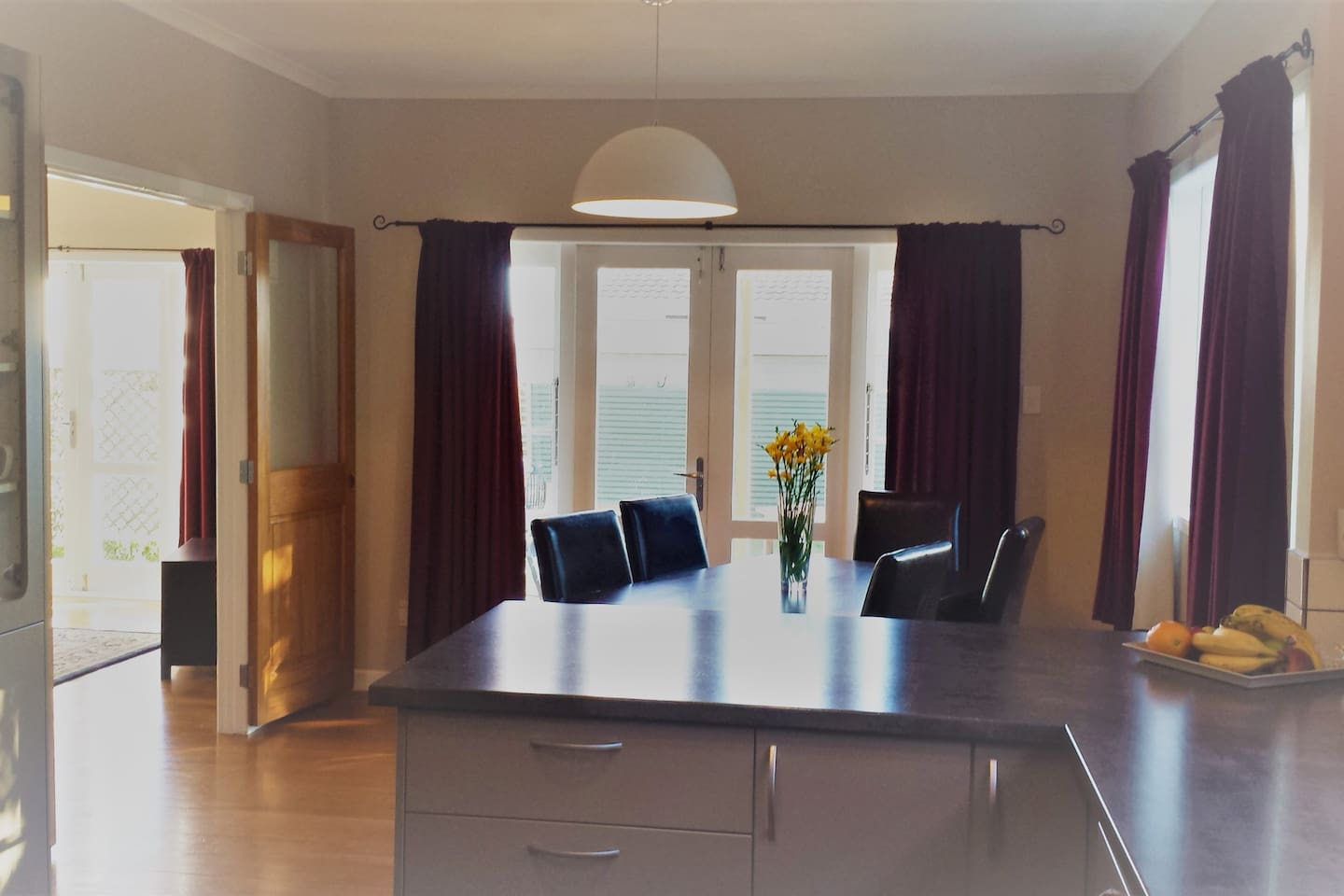 Dining Room with French doors that open onto our deck