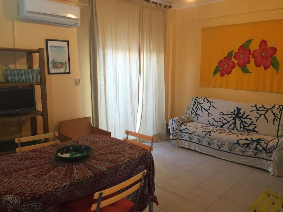 L'ampio soggiorno con il comodo divano e la finestra che porta al terrazzino...