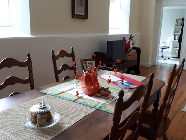 Welcome Table - this antique table was found in the church and continues to offer up good things to nourish body and spirit.