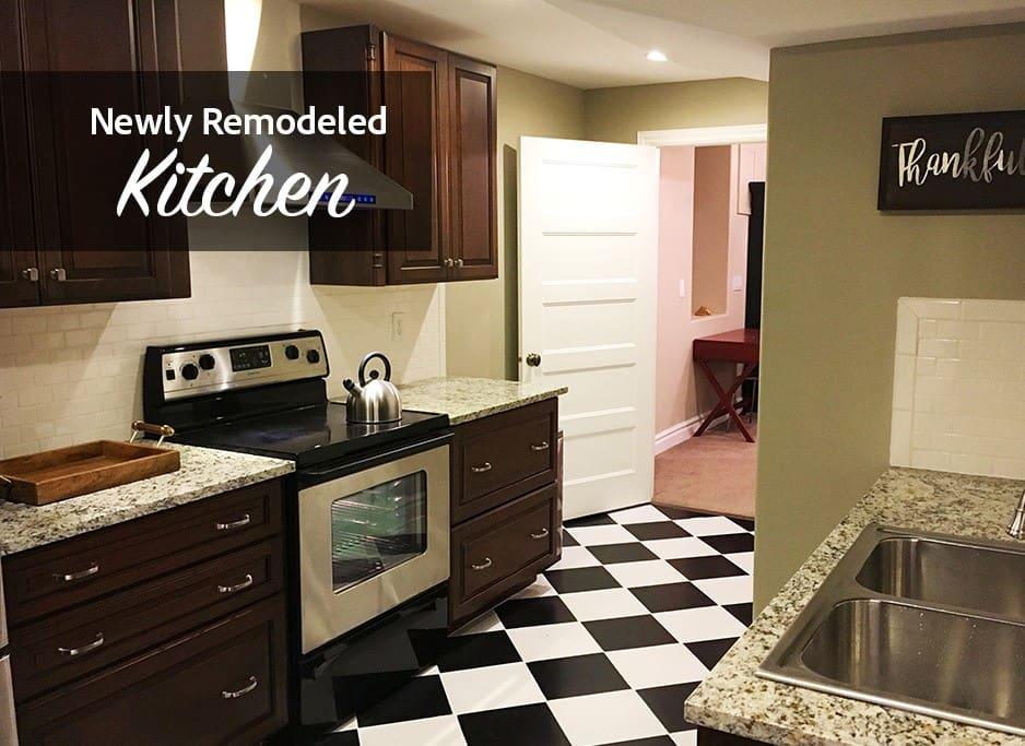 Newly remodeled full kitchen! Full sized fridge, stove/range, microwave, dishwasher, etc!