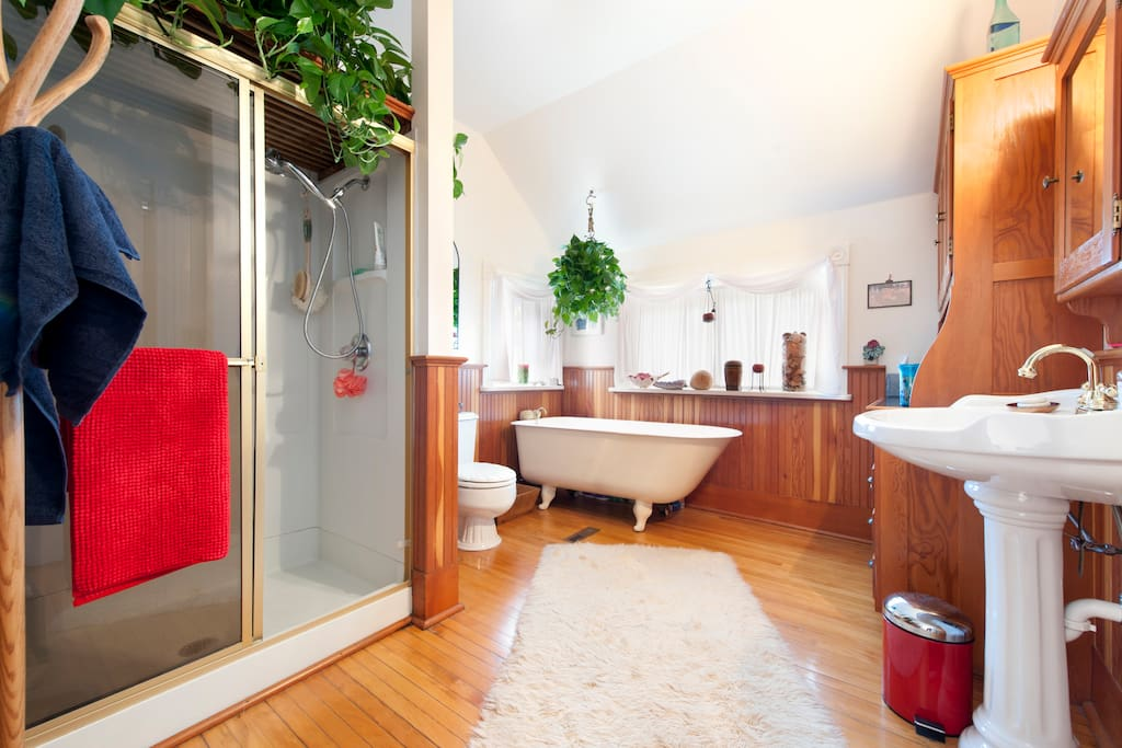 Hanging plants above the shower and tub make this bathroom feel like a rain garden.
