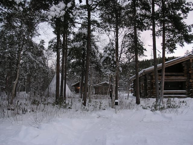 Traditional timberhouse in Lapland