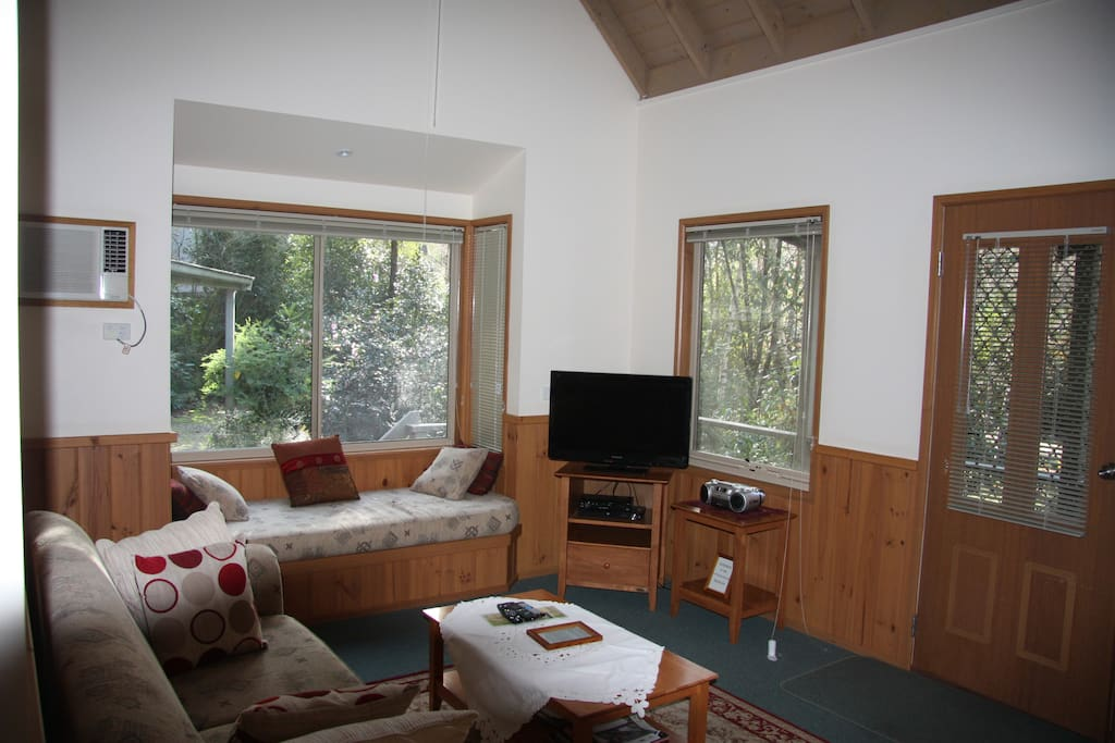 The lounge has space, light and garden views