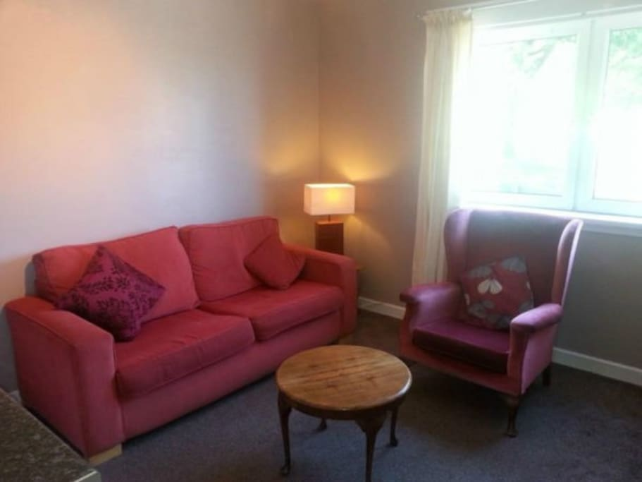 Comfy living room with double sofa bed
