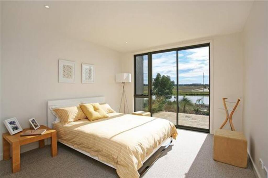 Main bedroom with courtyard overlooking golf course