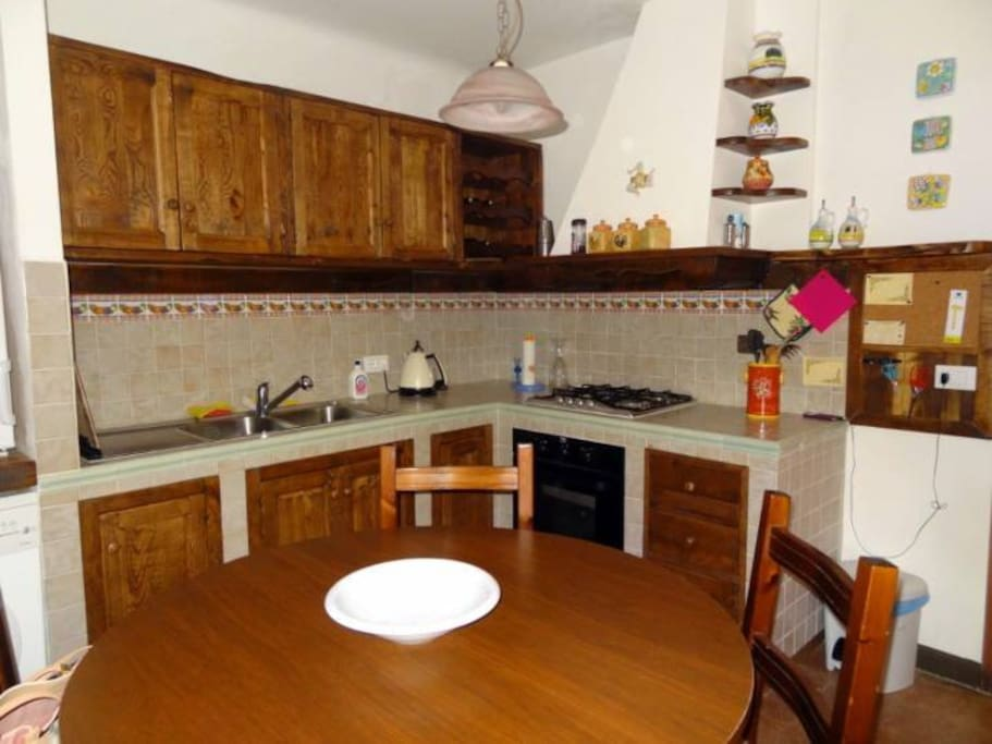 Renovated kitchen with chestnut timber.