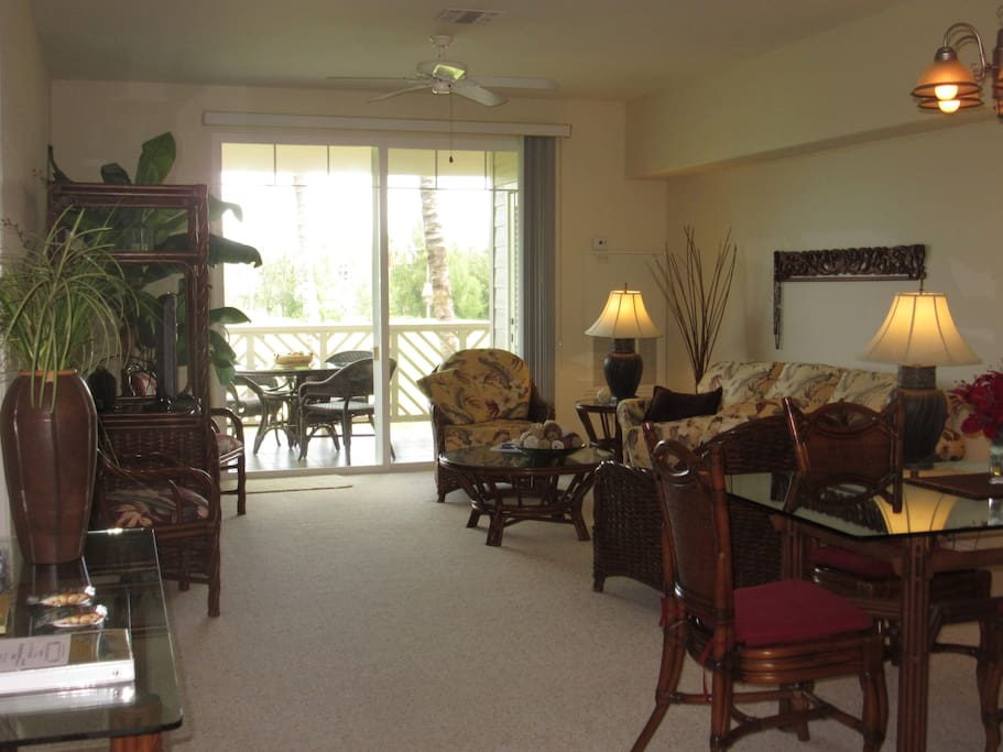 The living area flows out to the lanai.