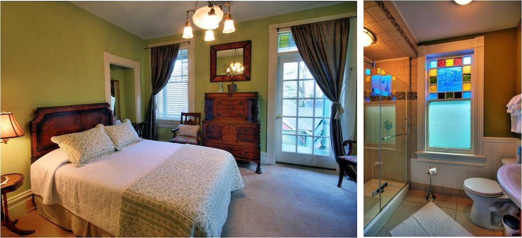 Vandiver's Stokes Room:  Porch overlooking the gardens and walk-in shower!