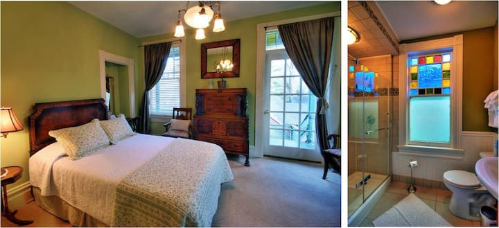 Vandiver's Stokes Room:  Porch overlooking the gardens and walk-in shower!