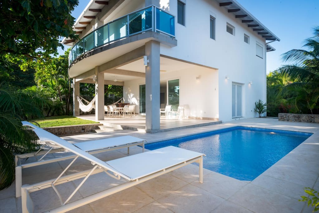 Two story, modern home with private pool