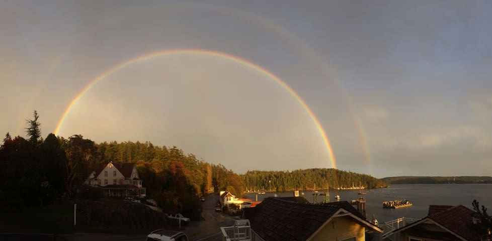 A double rainbow above the ferry landing.
