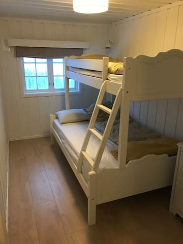 The second bedroom has a bunk bed with one being 1.20mx2m and the upper one 0.75mx2m