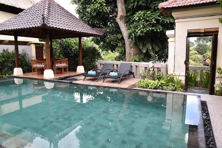 Villa Prema & Prema Sari has two Rooms, Room Prema and Room Prema Sari,with a shared pool. Both rooms are the same size and adjacent to each other, but each one is private. You can book one or both.