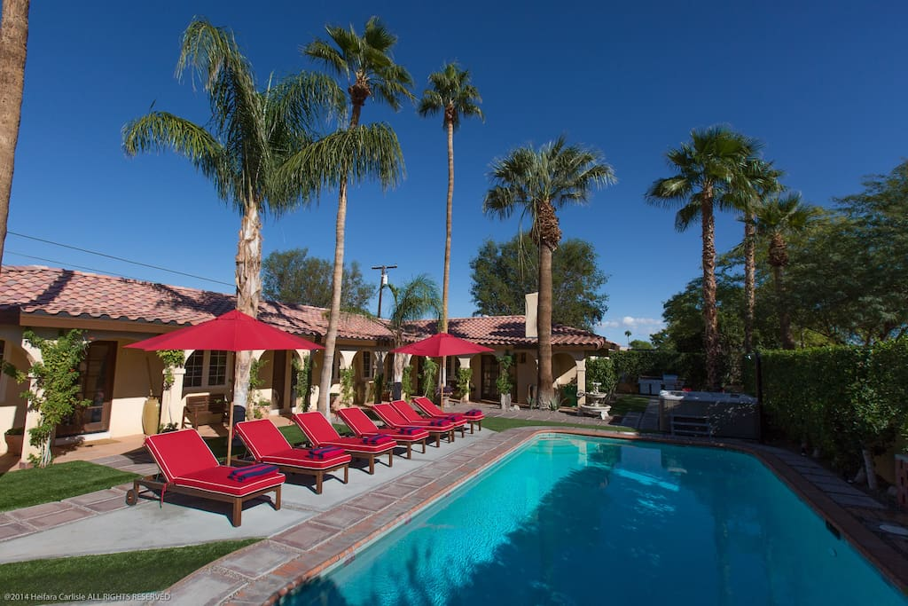 Lay back and relax ....Nine chaises close to pool and spa