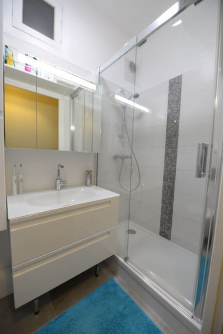 Recently renovated shower room. Large shower (120 x 90), with sink and WC