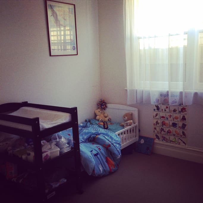 Toddler bed & change table available.