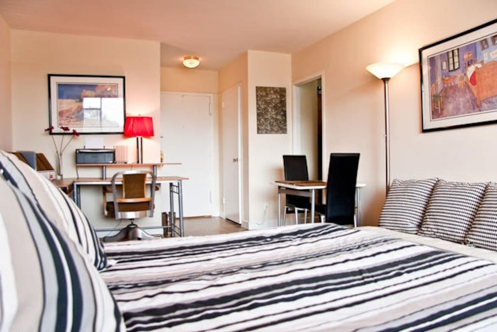 Studio also features high-speed Wi-Fi; four closets; dishwasher, gas stove