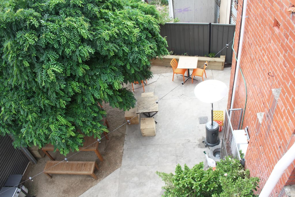 Shady courtyard and beer garden.