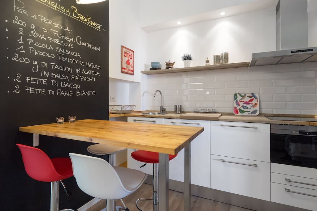 The Kitchen with a chalkboard wall