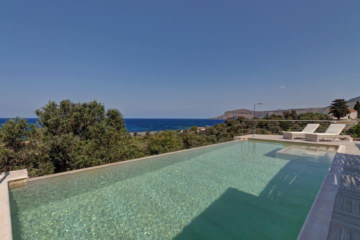 Amazing stone villa with sea view - Kissamos