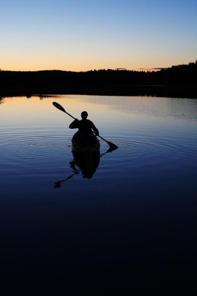 Evening kayak on the lake