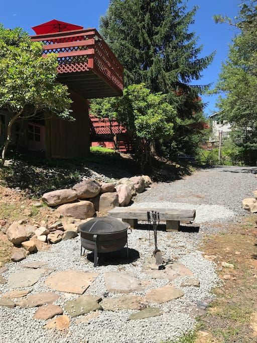 Enjoy the fire pit just steps from the deck!