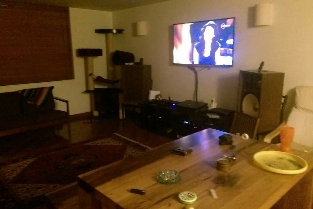Lounge room TV area play station cable TV hi fi audio