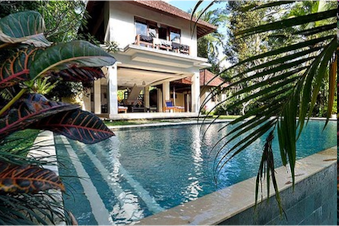 Infinity swimming pool and front of house.