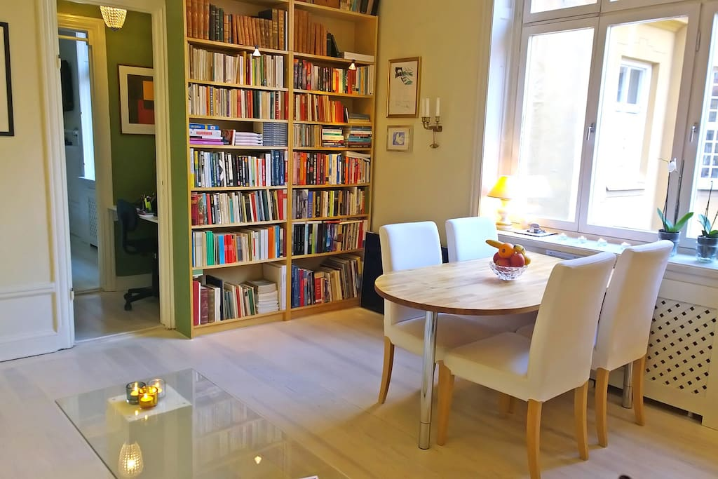 Livingroom (most of the books are about entrepreneurship and innovation) and of course there's the Stieg Larsson triology :-)