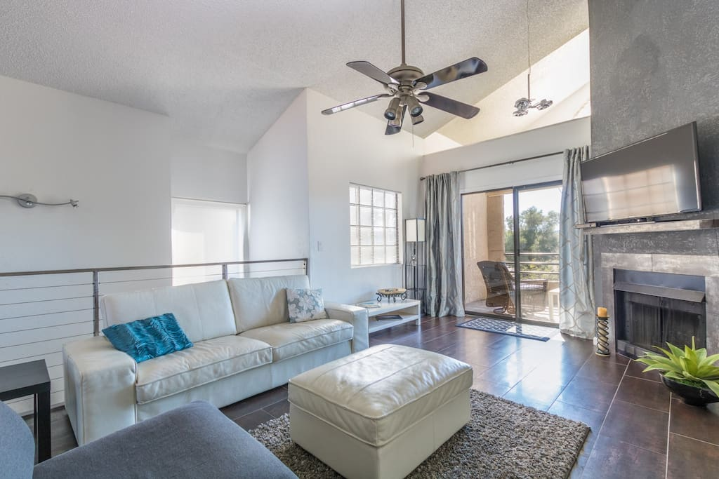 High ceilings and bright and light family room