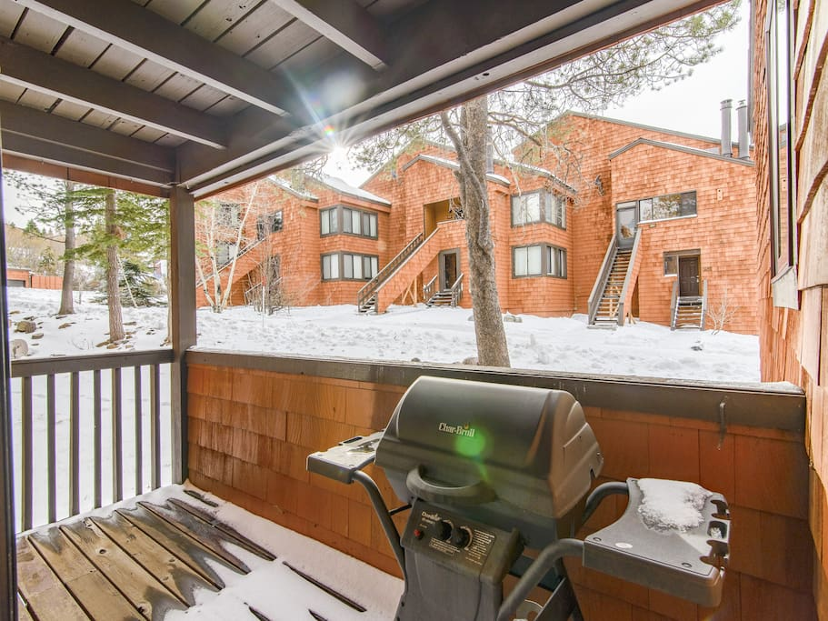 Enjoy the fresh mountain air on the private deck.