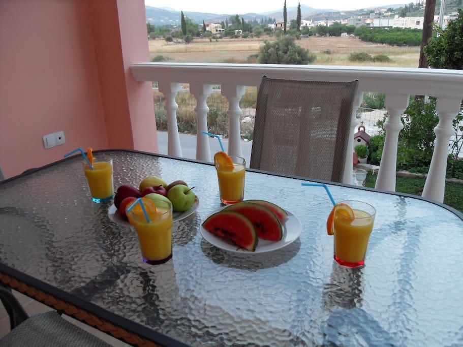 Beautiful veranda with view of greek countryside