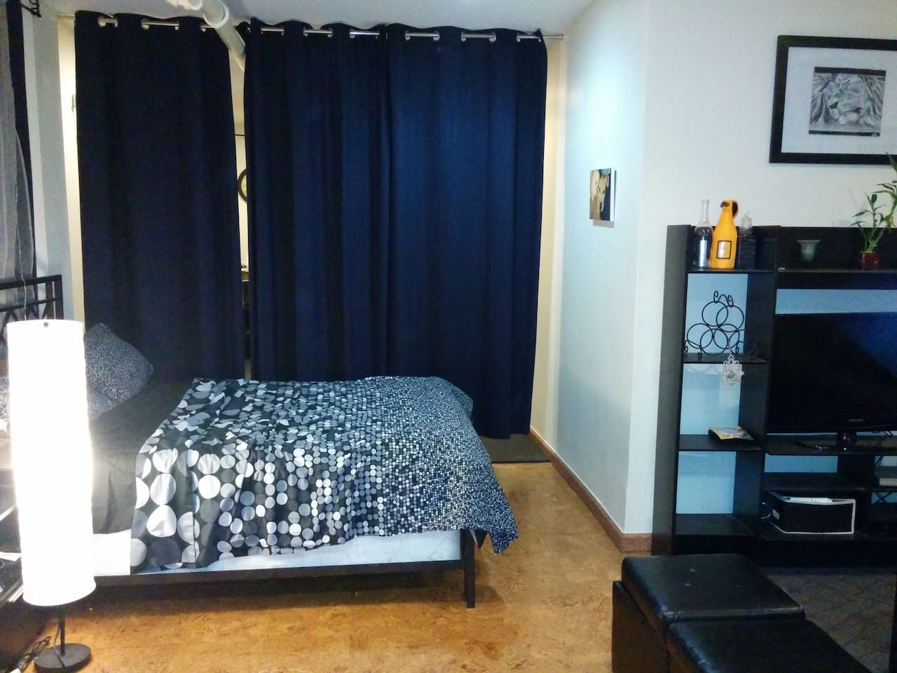 Large apartment with, kitchen, separate sleeping, living room, and gym area