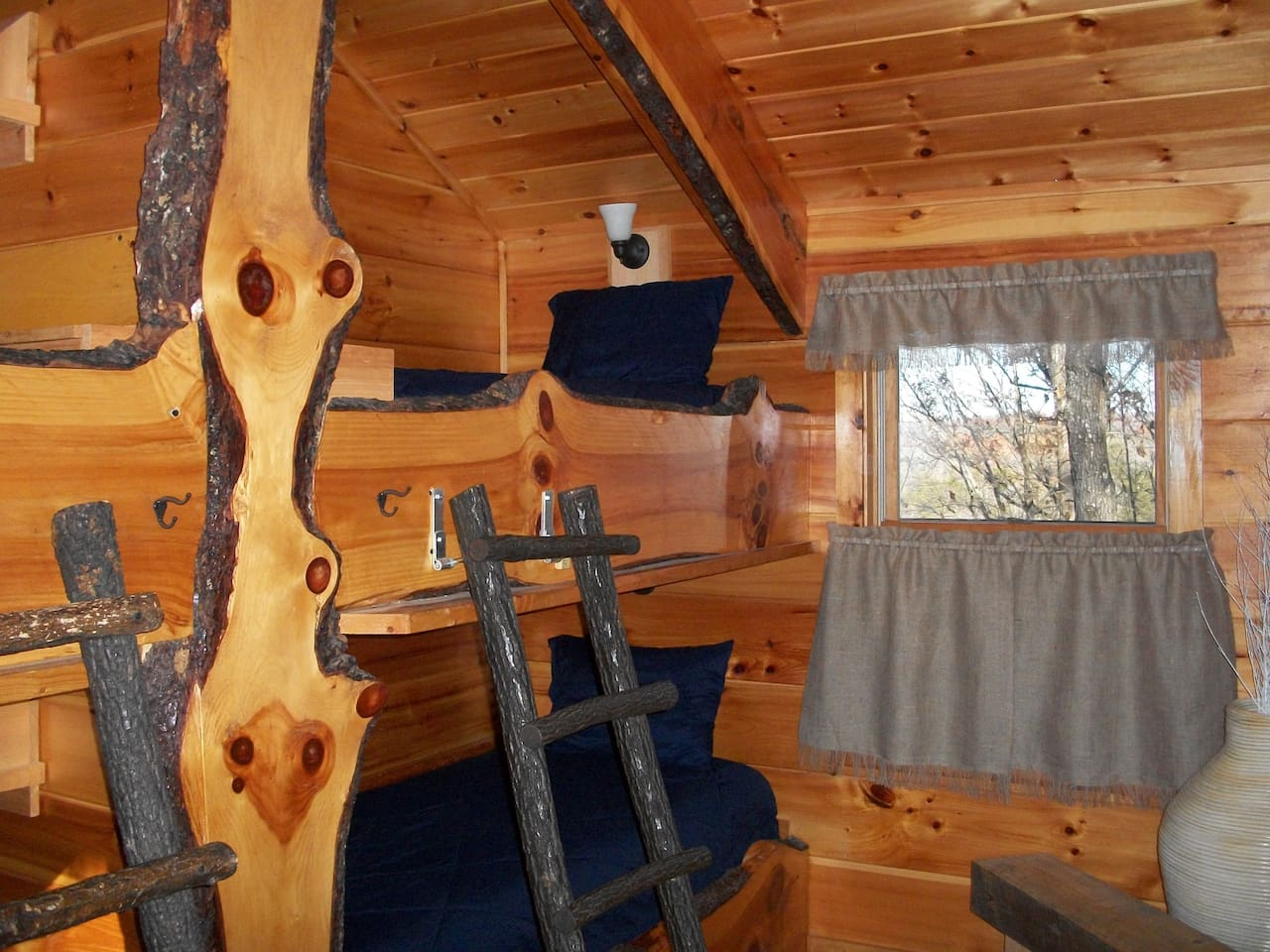 Four very unique bunk beds.  The bottom two are twin XL for long cowpokes.