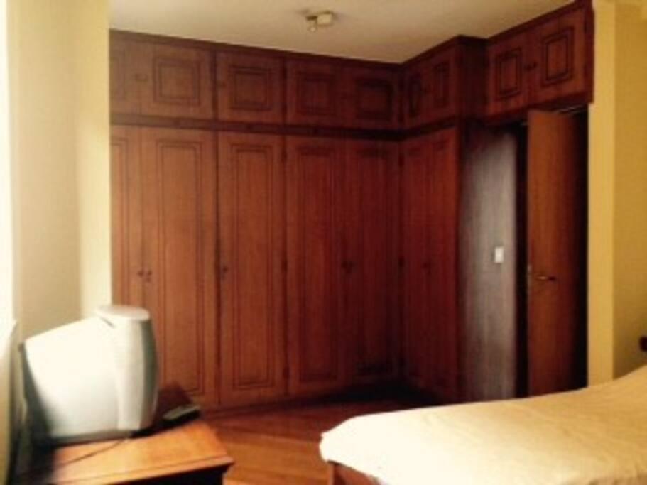 Armário embutido e televisão no quarto.