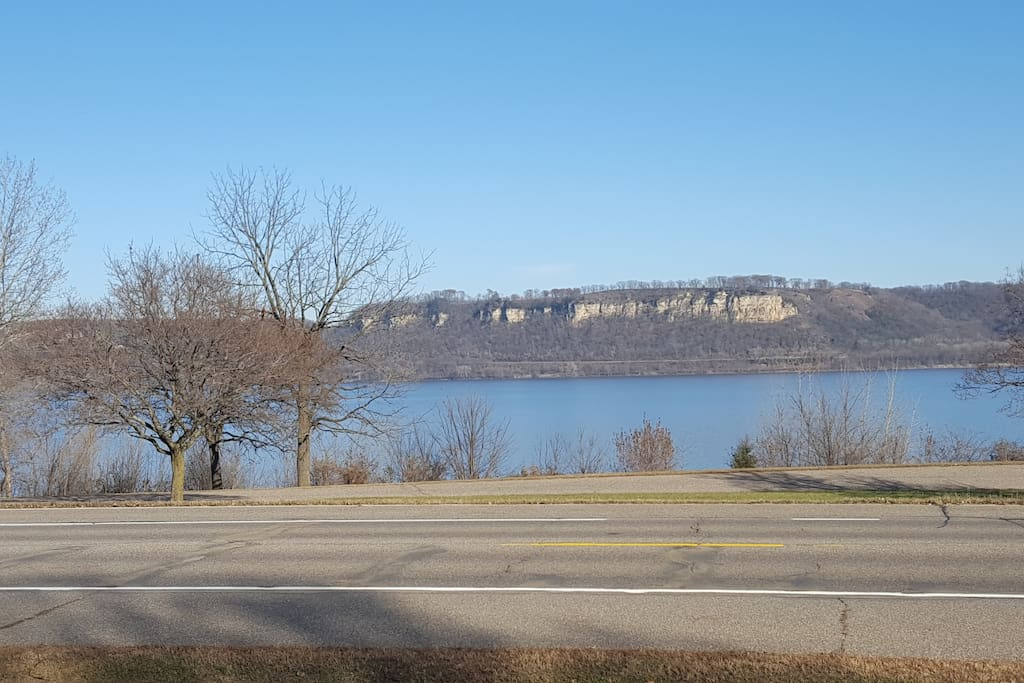 Beautiful view from our front yard of the Mississippi River/Lake Pepin