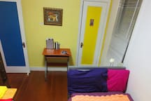 Everything is colorblock theme. I use colorful linen, towels etc. for fun.