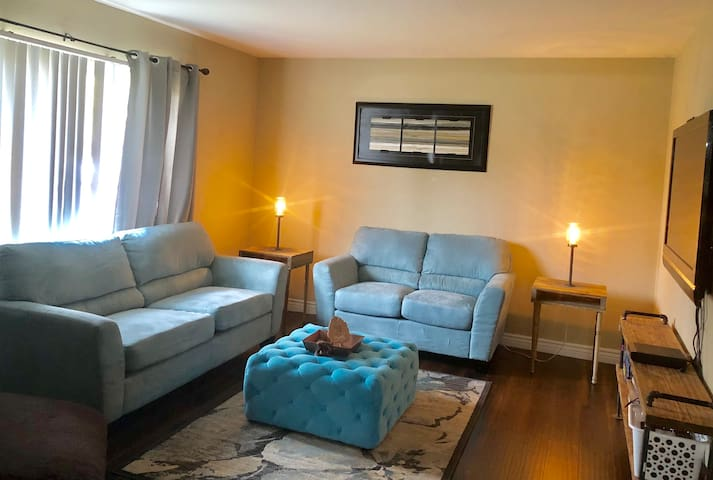 Current ad of 6/13/18 Please note I rearranged the furniture on occasion but everything you see in this picture is in the home. Currently the living room has a chaise lounger in it as well.  The carpet has been replaced with wood flooring